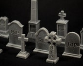 Set of 10 grave stones - props for miniature table top dnd gaming