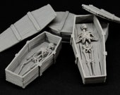 Set of 3 wooden coffins with skeletons inside - props for miniature table top dnd gaming