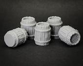 Wooden Barrels x5 - props for miniature tabletop dnd gaming
