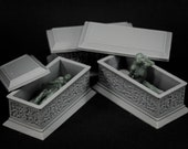 Set of Three Sarcophagi with mummies - props for miniature table top dnd gaming