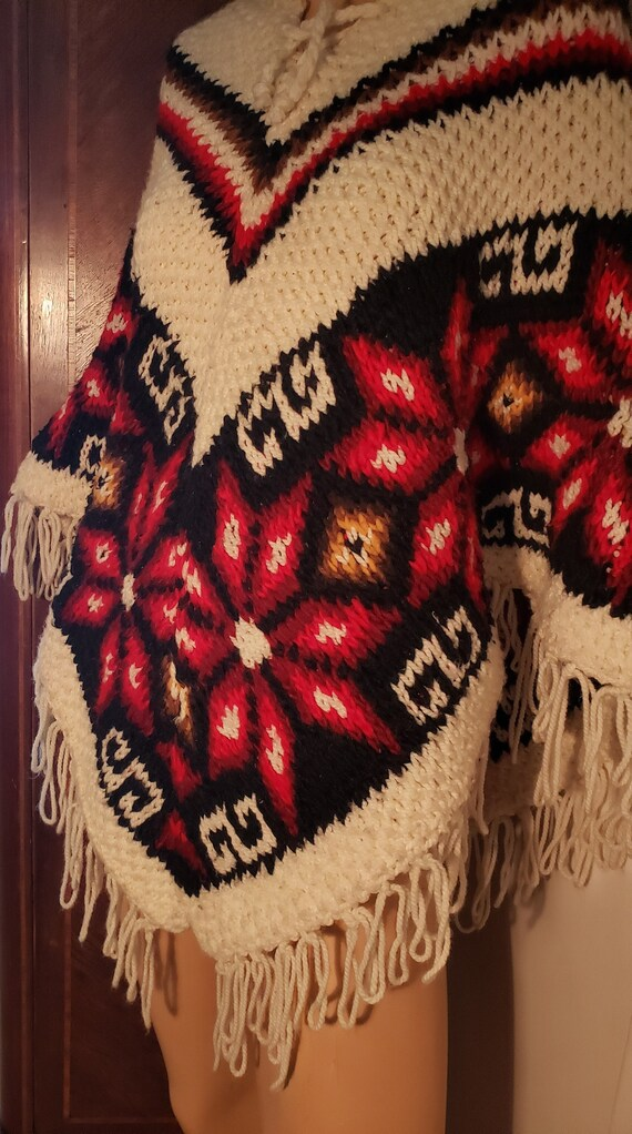 Vintage Mexican Hand Knitted Wool Fringed Poncho