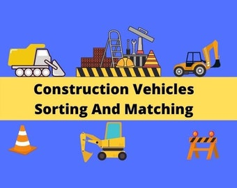 Construction Vehicles Sorting & Matching Printable Busy Book   Truck Learning Binder Toddler   Preschool
