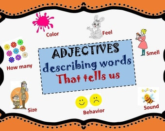 Adjectives - Montessori Cards /  Educational Material / Homeschooling /Digital Download and Instant Print/ Kindergarten to Elementary Level