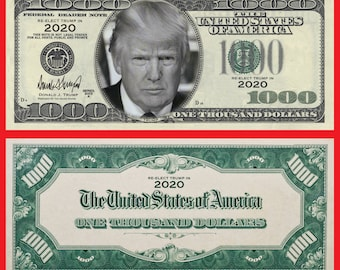 Gold Foil Donald Trump Smiling Face $1000 Dollar Bill MAGA Funny Money in Holder