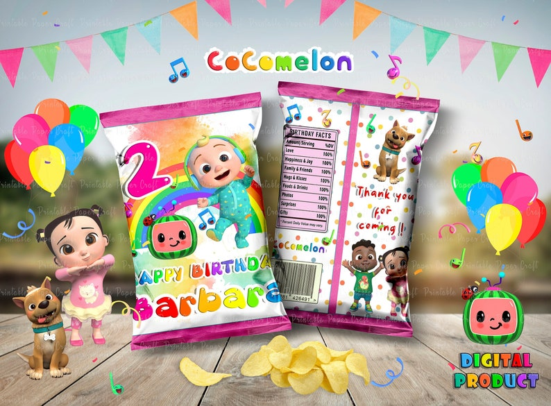 Cocomelon Party Decor Printable Cocomelon Girl Party Favor Chip Bags Cocomelon Baby Shower Cocomelon Chip Bag Cocomelon  Birthday Party