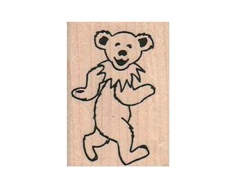 GRATEFUL DEAD Rubber Stamp Jerry Garcia DANCING BEAR WALKING New!
