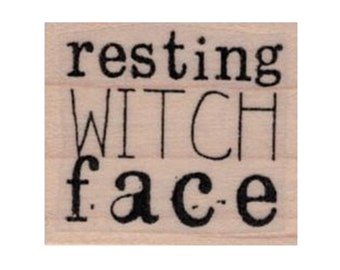 Deep Red Rubber Stamp City Girl Witchy Witch Girl with a Broom Halloween Theme