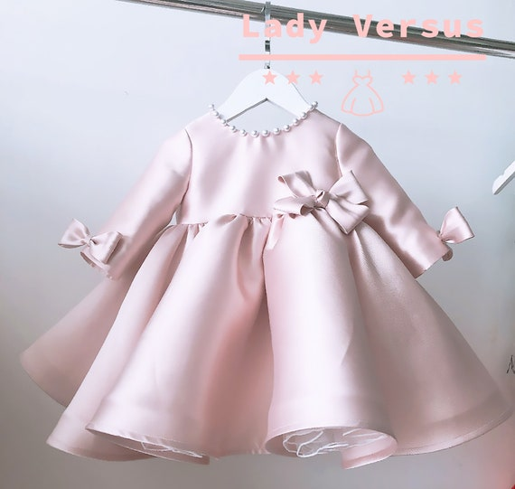 Baby Girl Pink Lace Satin Christening Shoes Baptism Party Pink Dress