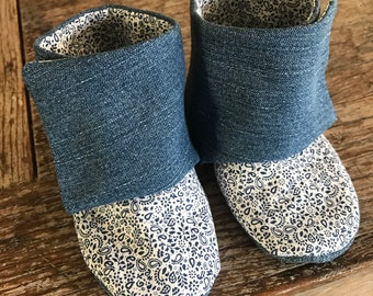 Baby Boots | baby shoes | toddler boots | up cycled denim baby | stay on booties