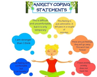 Anxiety Coping Statements, Anxiety relief, Mental Health Poster, Therapy, School Counselor Print, Therapy, Counseling Aid, Digital Print