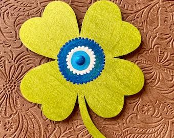 Evil eye gift, evil eye decor, housewarming gift, Good Luck, Wooden Four Leaf Clover, Protection Ornament, good luck gift, evil eye charm