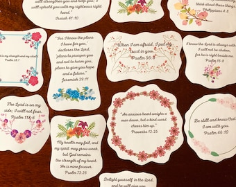 Bible verse stickers, scripture stickers, encouraging gift, faith stickers, religious quotes, self care gift, mental health gift