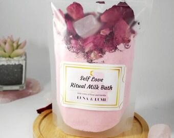 Handcrafted Self-Love Ritual Milk Bath, Organic, Vegan, Milk Bath, Rituals, Self Love, Coconut Milk, Himalayan Salt, Roses, Oil, Safe, Spell