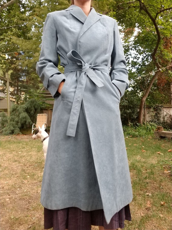 Vintage 70s Blue Gray Suede Trench Coat