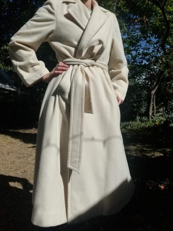 Vintage 1950s Cream Wool Trench Coat