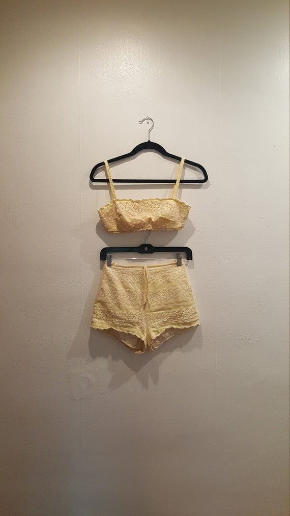 Vintage 1960s Yellow Bikini Bathing Suit