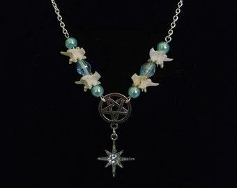 Pentagram snake vertebrae bone pendant necklace with light blue glass beads, gothic bone jewelry, goth gift for friend, star charm