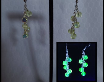 Uranium glass beaded earrings, chain dangle earrings, square uv bead jewelry, party bead earrings