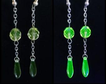 Uranium glass multi bead earrings