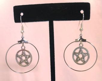 Pentagram jewelry, goth hoop earrings