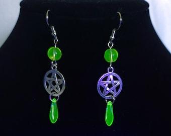 Pentagram beaded uranium glass earrings, teardrop vaseline glass jewelry, gothic uranium jewelry, radioactive earrings