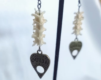 Antique gold planchette dangle earrings, snake vertebrae earrings, ouija jewelry, vulture culture jewelry, witchy gifts for women