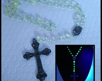 Vaseline glass rosary necklace, unique rosary gift, vaseline glass jewelry