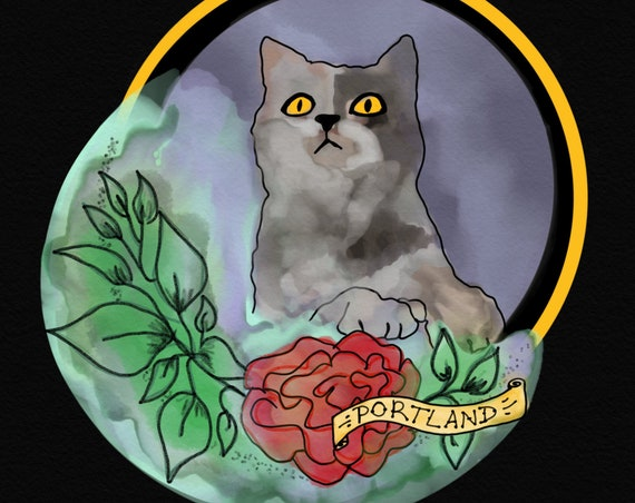portland rose and moon cat sticker | FREE SHIPPING