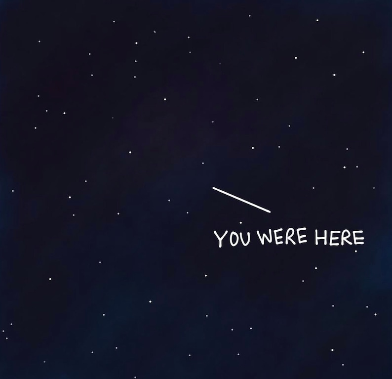 FREE SHIPPING existential philosophy gift sad funny hitchhiker/'s guide to the galaxy space gift depressing travel you were here sticker