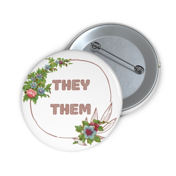 They / Them Pronoun Pin Jacket Badge Button, Vintage Floral Lineart, Pink