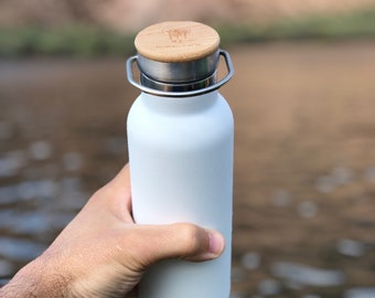 Stainless Steel Water Bottle with Bamboo Lid | Zero Waste | Eco Friendly