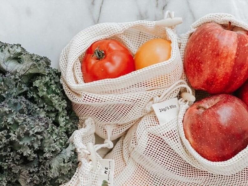 Zero Waste Cotton Mesh Produce Bags 3 pack  Reusable Produce image 0