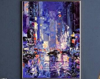 New York City Painting, Night Street City, Rain Original Painting, New York Artwork Urban landscape, Wall Art Impasto 12 by 9 by Savenkova