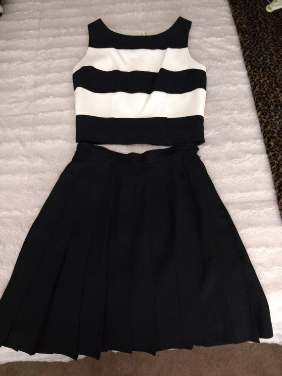 Black and Ivory 2pc top and skirt