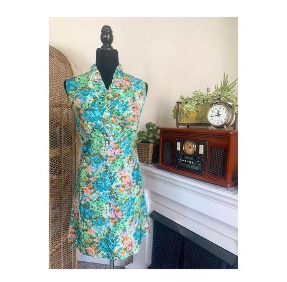 Flower Power Psychedelic Halter Dress Tie Waist Gogo Dress Bright Colors Mod 1960s Colorblock Hippie Boho Mini Dress Floral Sundress