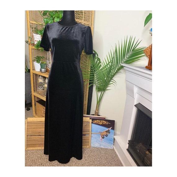 90s Laura Ashley Black Velvet Shortsleeve Dress - image 1