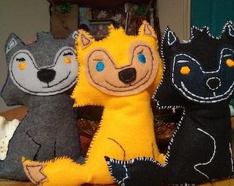 Handmade werewolf dolls, Marco, Bade, and Sam collectible