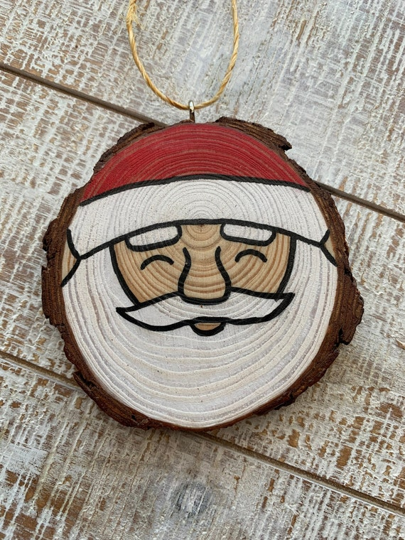 Christmas Ornament Santa Claus Face Painted Wood Slice Etsy