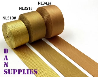 """Yellow gold 5 yards of 1 1/2"""" 38mm heavy weight Nylon webbing ribbon for belt bag purse strap key fob sold by the yard"""