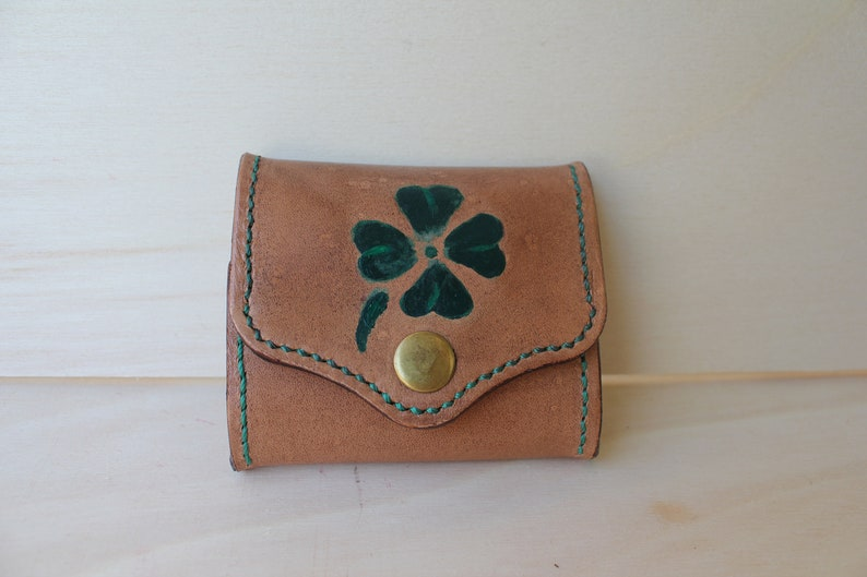 Leather purse Lucky Quadrifoglio gift him her graduation gift hand-painted purse custom purse