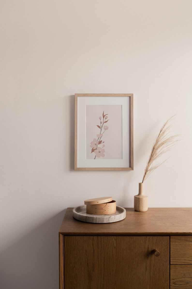 Cherry Blossom Digital Print Minimalist Print by Aesmo Sakura Print Nature Sakura Illustration Simple A3 Art Print Japan