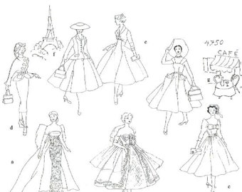 Vintage doll Sewing Pattern In Paris for 11-1/2 Fashion Doll PDF