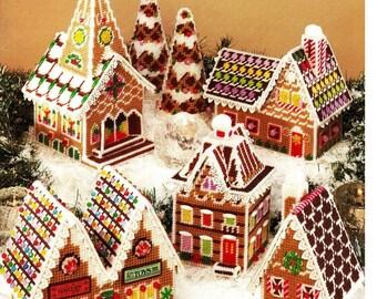 PDF Vintage Plastic Canvas Gingerbread Village Plastic Canvas Pattern, Church, Trees, House, Shops