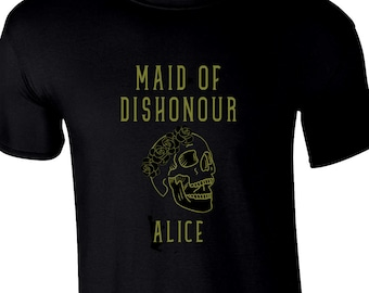 Ladies Maid of Dishonour - Personalised Skull and Flowercrown T-shirt - Maid of Honour Wedding Gift