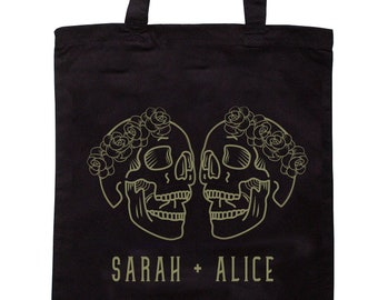 Customised Two Skulls Wedding Tote Bag - Mrs and Mrs - Add Names - Brides