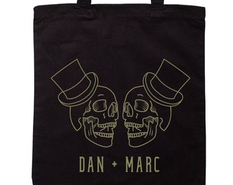 Customised Two Skulls Wedding Tote Bag - Mr and Mr - Add Names