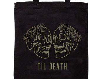 Two Skulls Flower crown Mrs and Mrs Tote Bag - Til Death Wedding