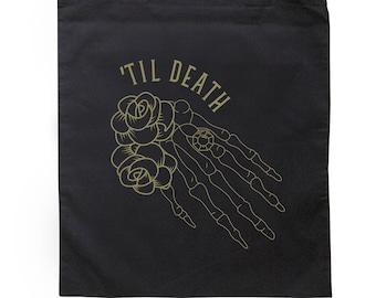 Til Death Skeleton Hand Design on Black Tote Bag
