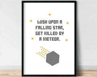 Wish Upon a Falling Star Wall Art Meteor Demotivational Poster Funny Posters Print