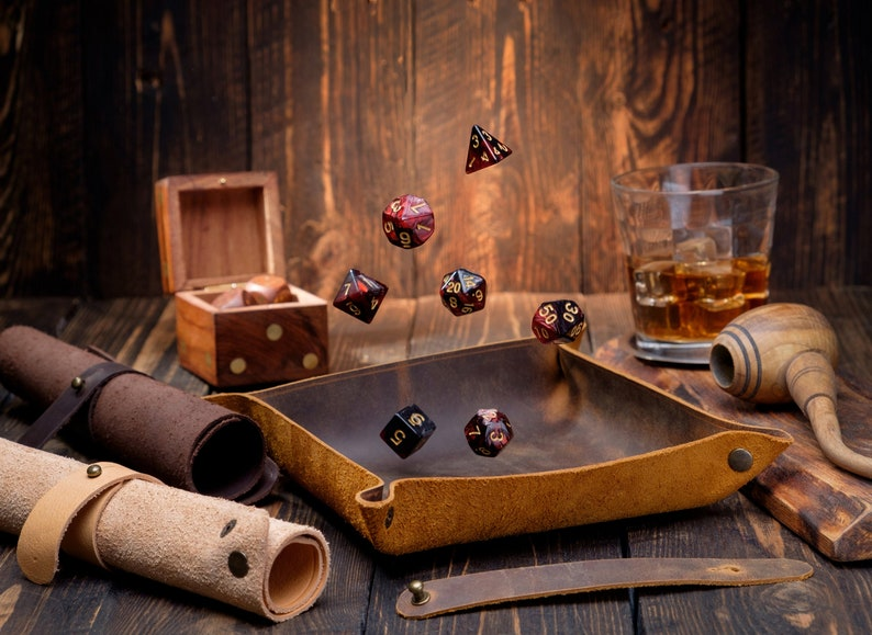 Custom Leather DND Dice Tray RPG Dice Tray TTRPG D&D Gift For image 0